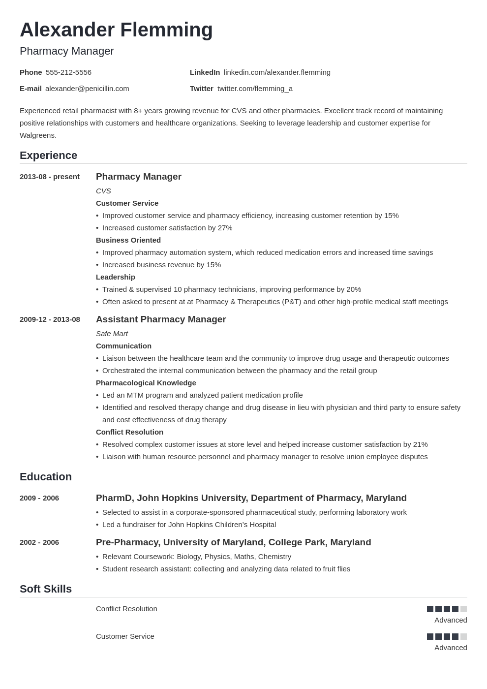 pharmacist resume example template nanica