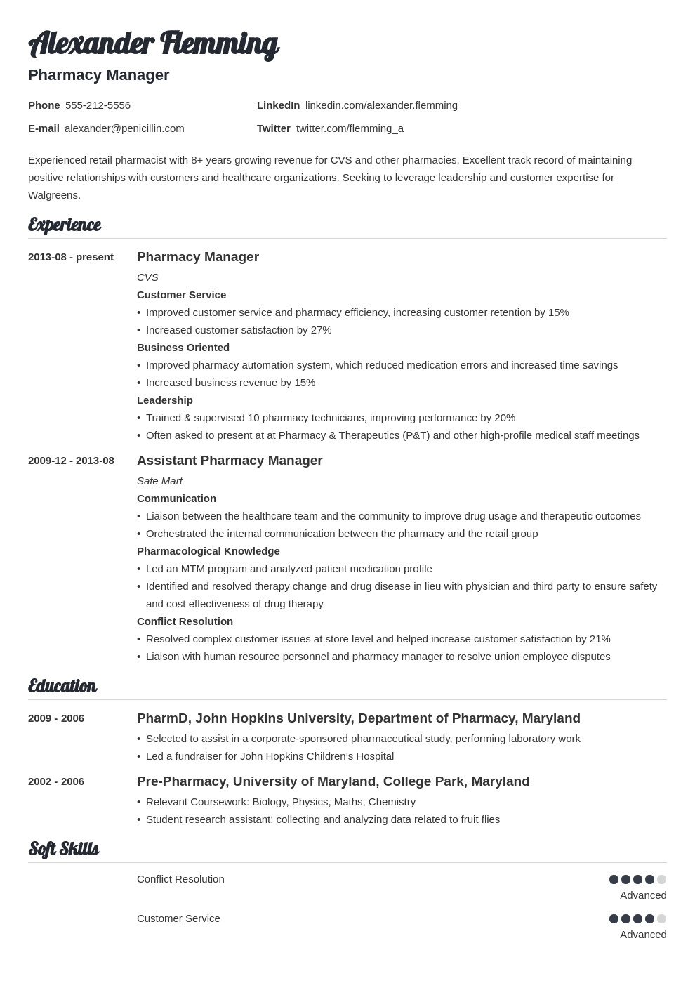 pharmacist resume example template valera