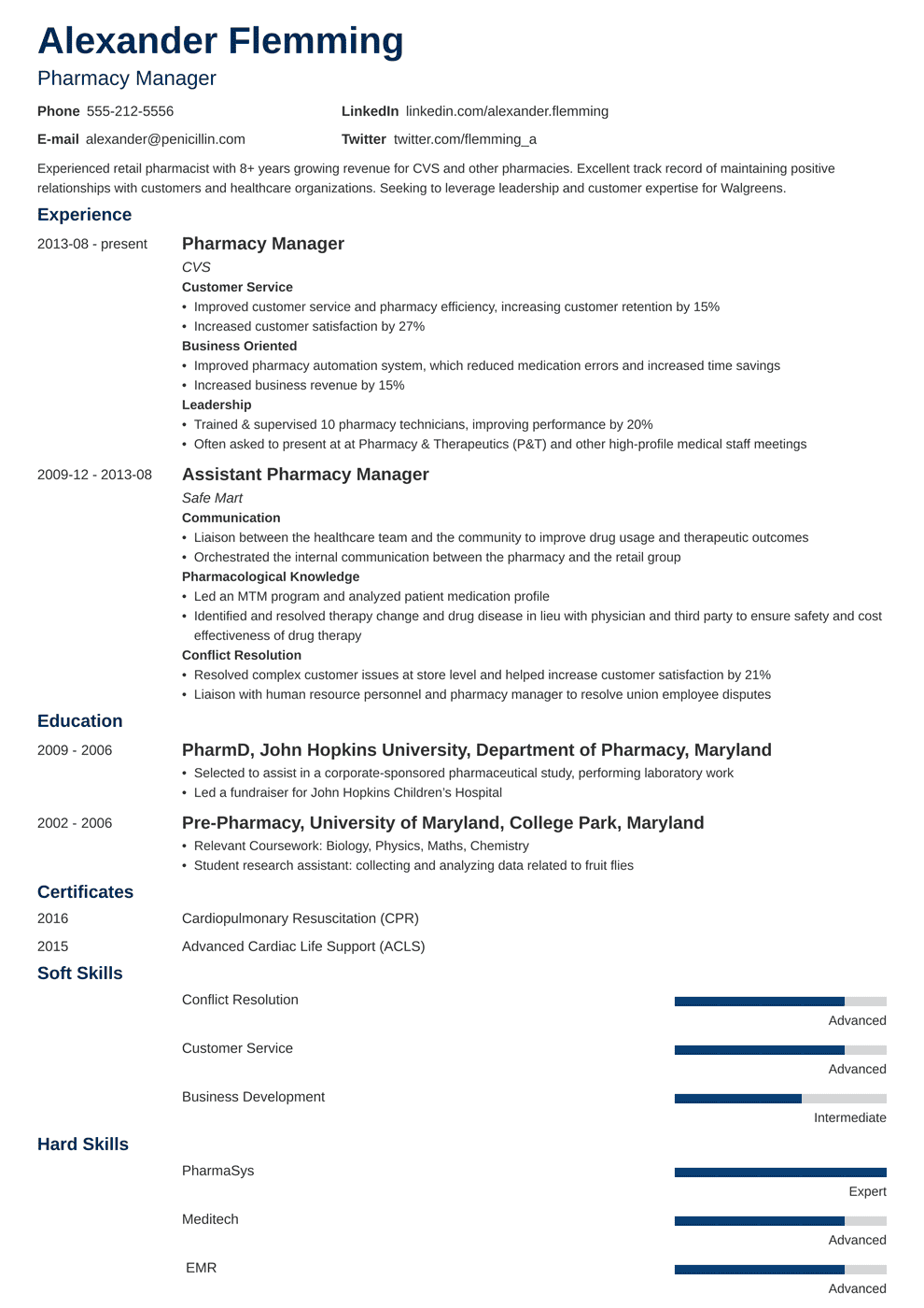 Pharmacist Resume Sample Complete Guide 20 Examples