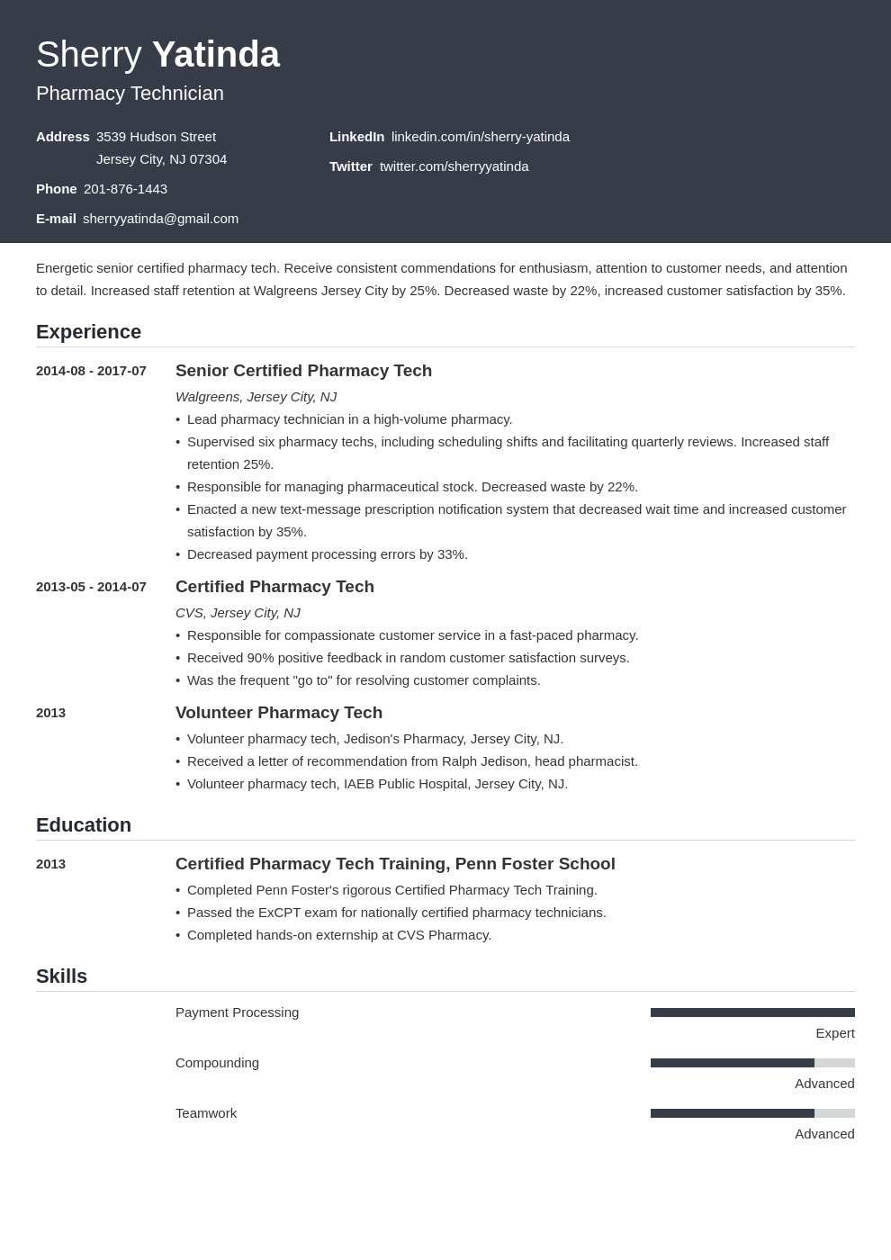 pharmacy technician resume example template influx