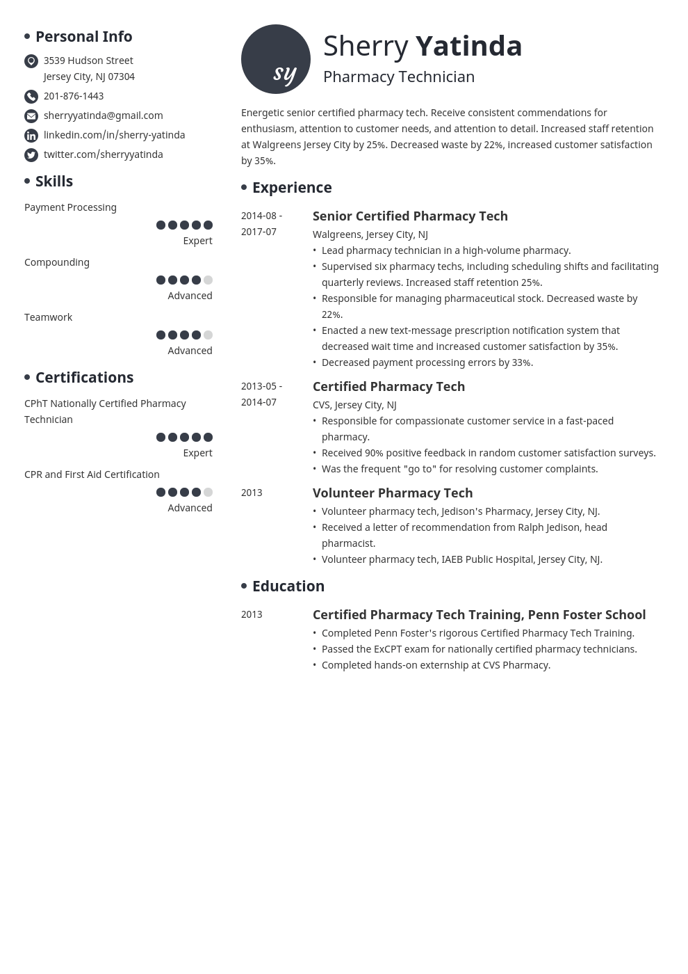 pharmacy technician resume example template initials