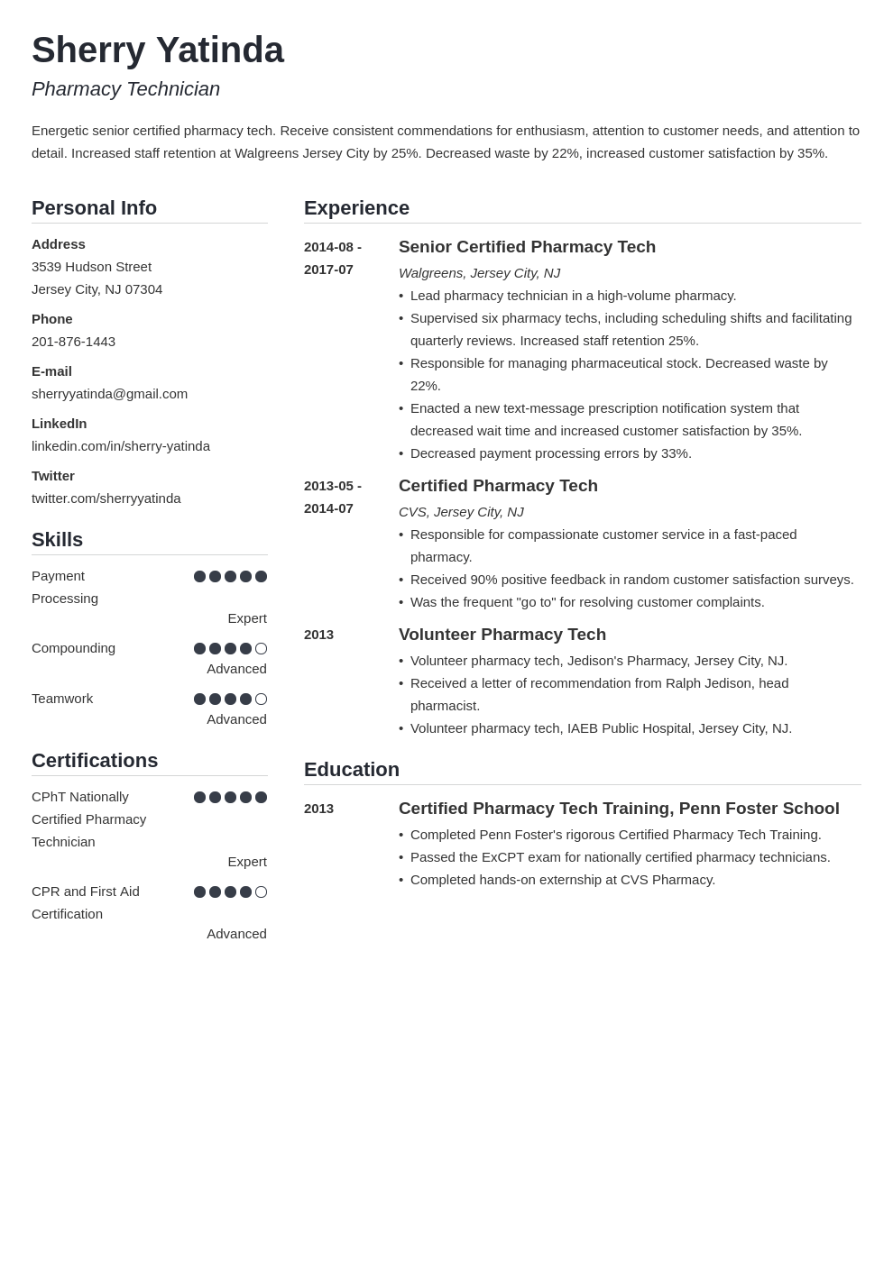 pharmacy technician resume example template simple