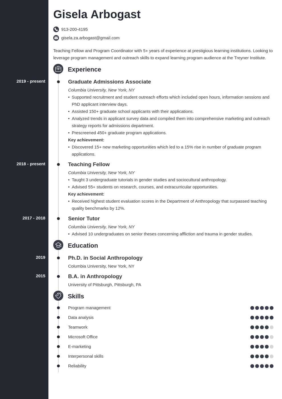 phd resume example template concept