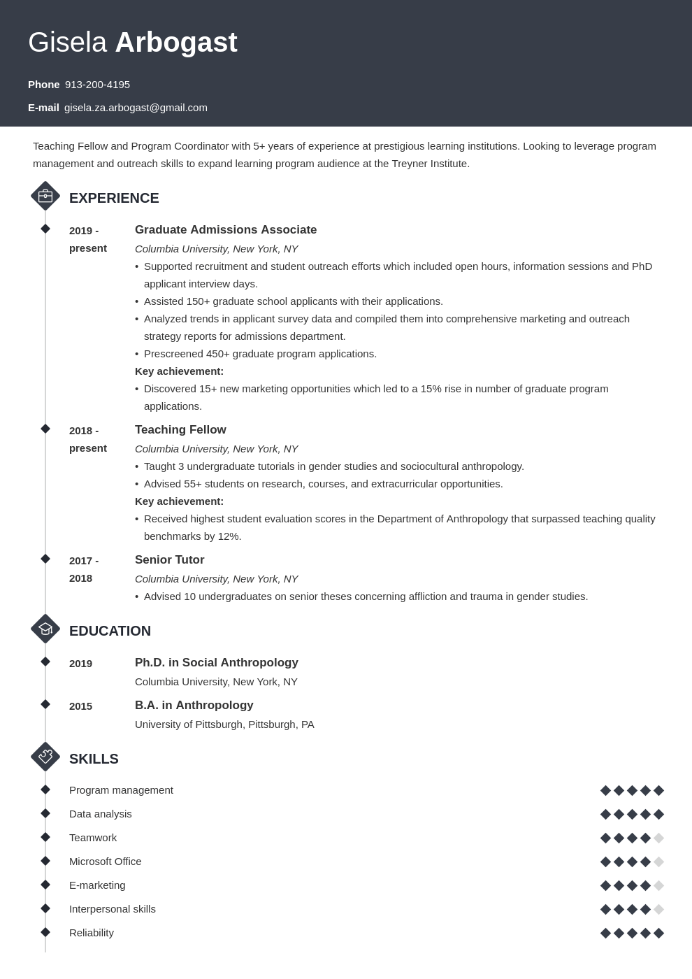 phd resume example template diamond