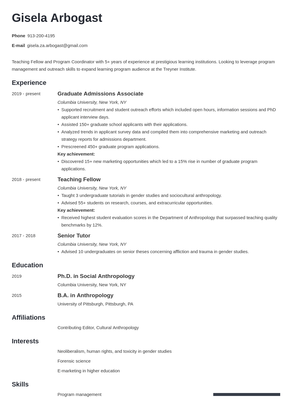 phd resume example template minimo