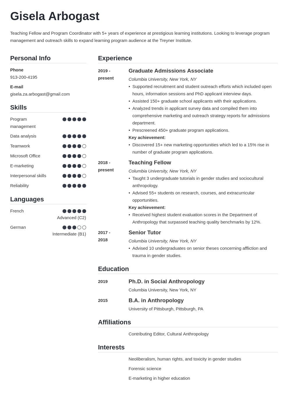 phd resume example template simple
