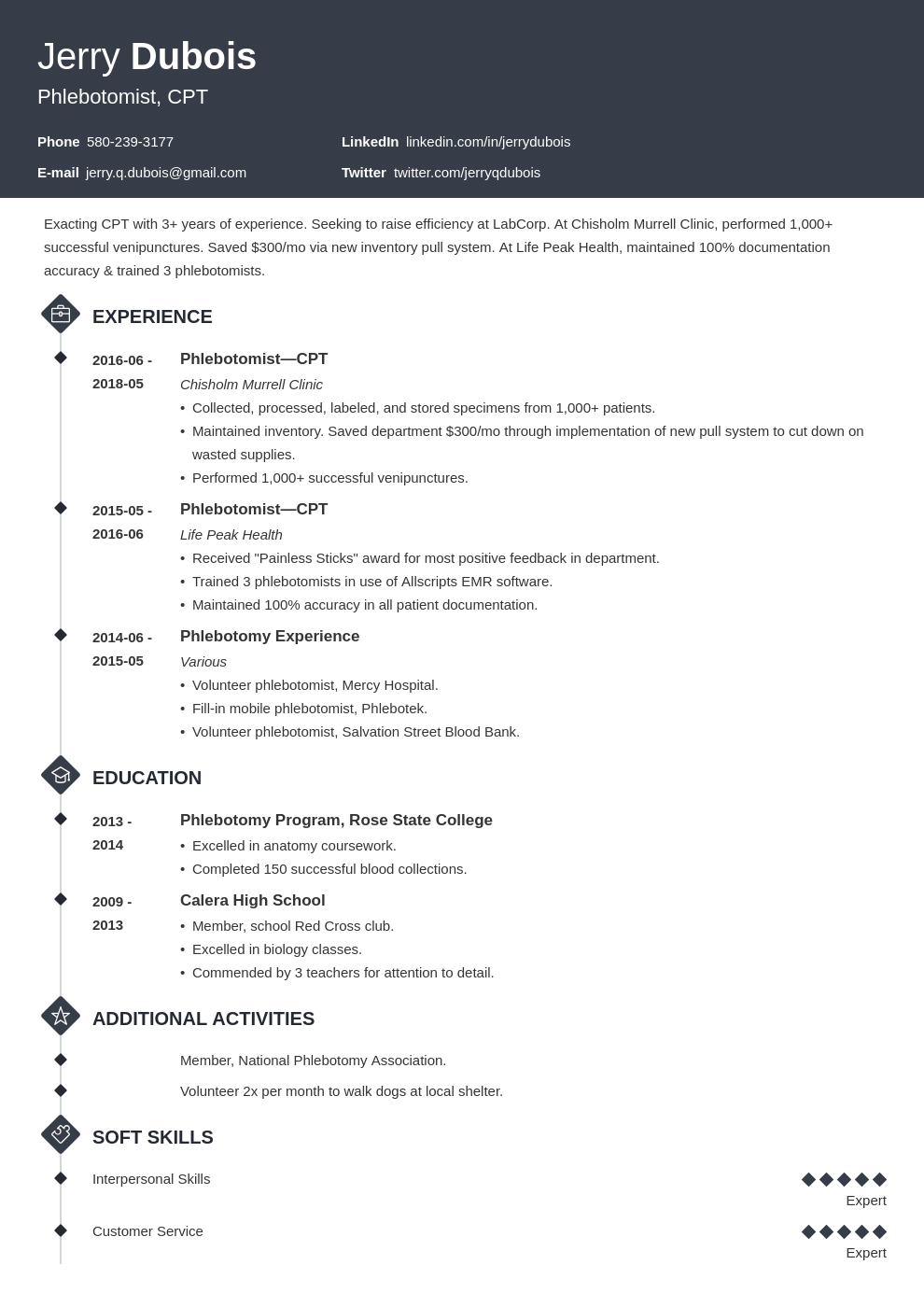 phlebotomy resume example template diamond