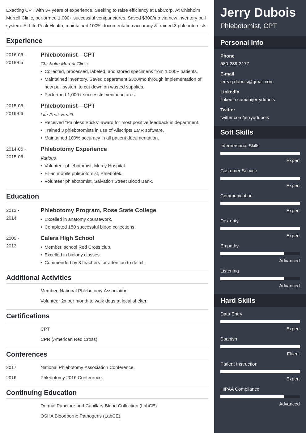 phlebotomy resume example template enfold