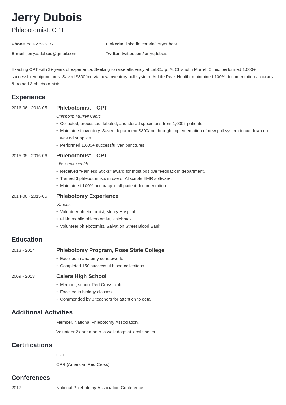 phlebotomy resume example template minimo