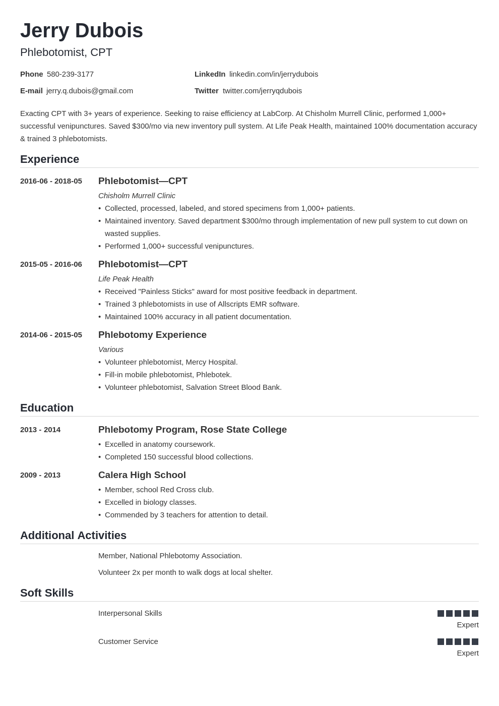 phlebotomy resume example template nanica