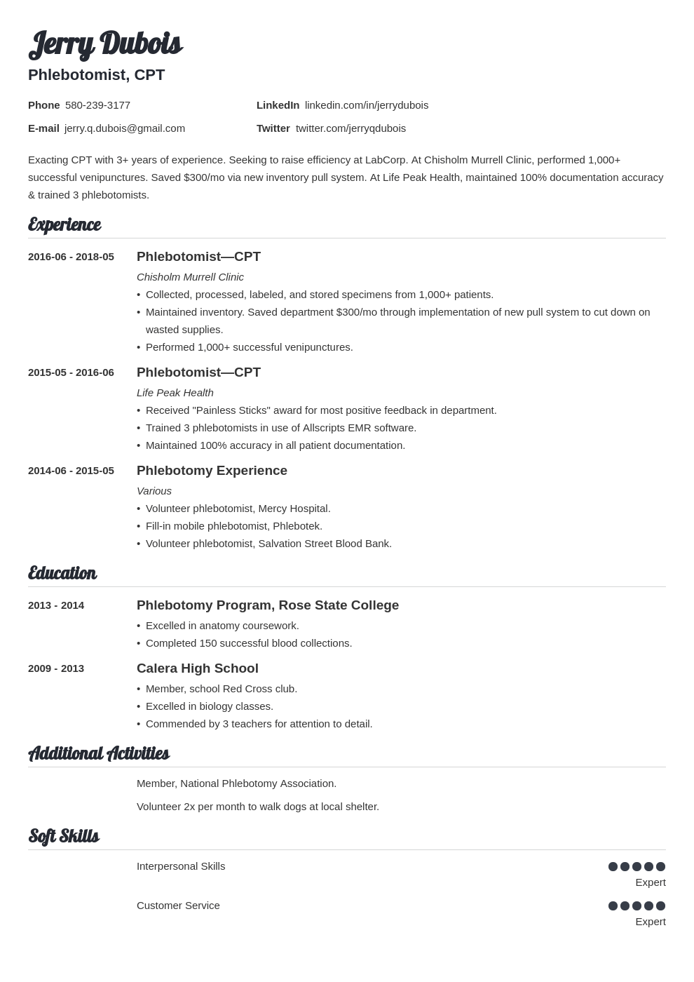 phlebotomy resume example template valera