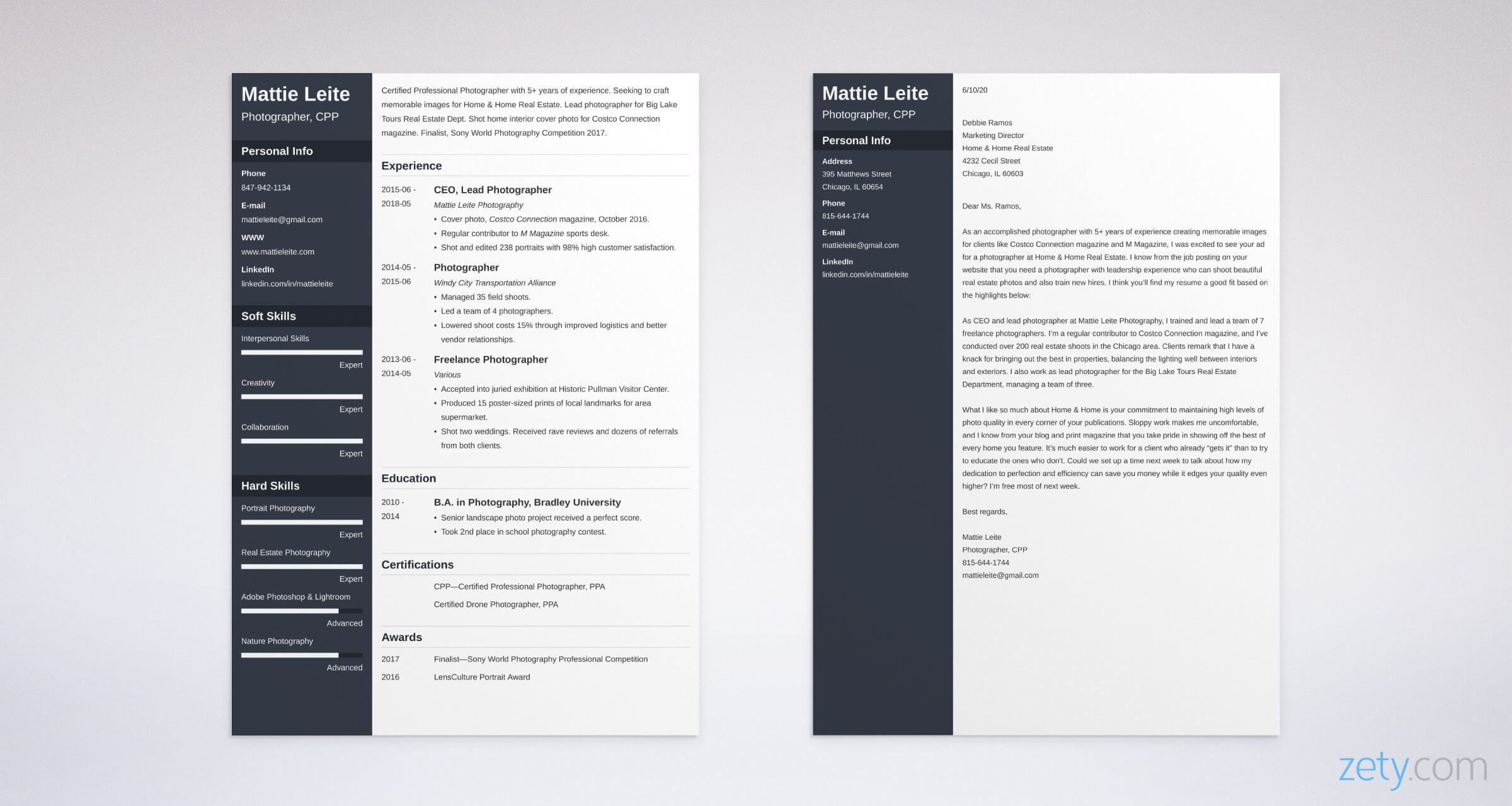 photographer resume and cover letter set