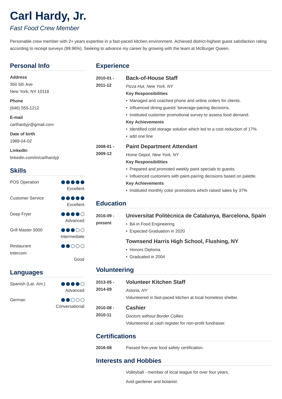 84+ Photography Resume Template - Executive Resume Templates For ...