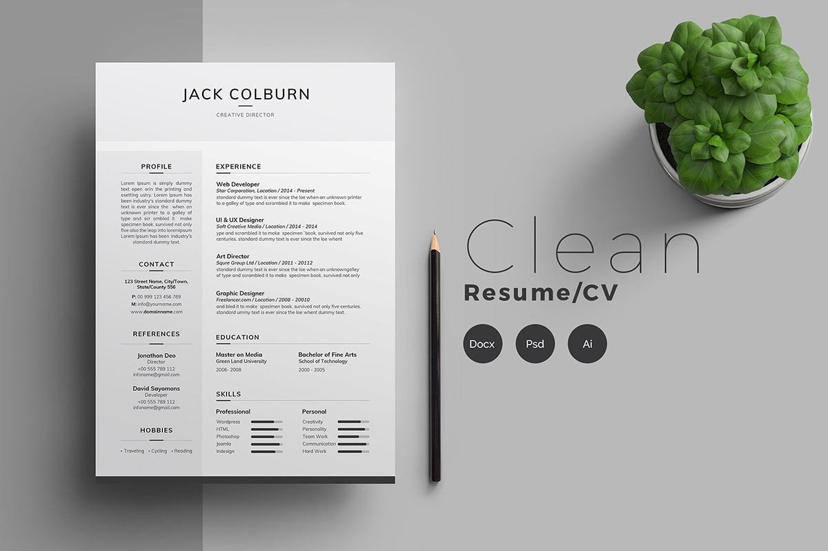 13 Photoshop Illustrator Indesign Resume Templates To