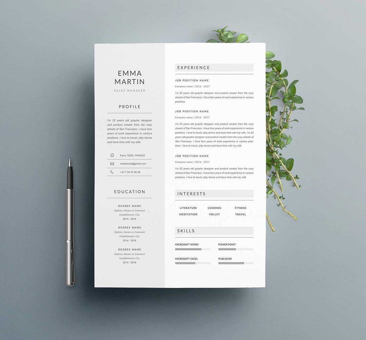 Modern Resume Template For Indesign: 13+ Photoshop, Illustrator, & InDesign Resume Templates
