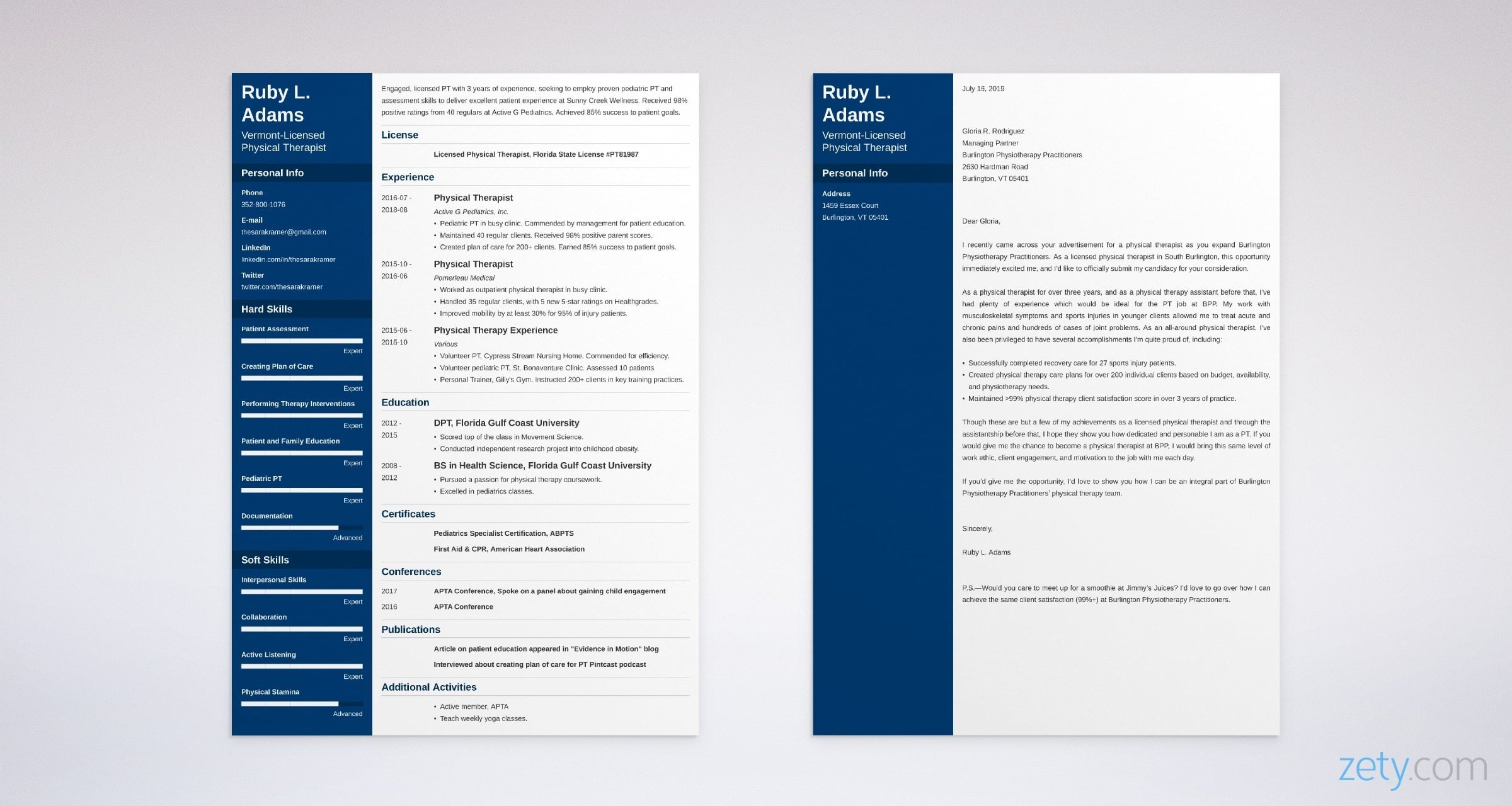 physical therapy resume and cover letter set