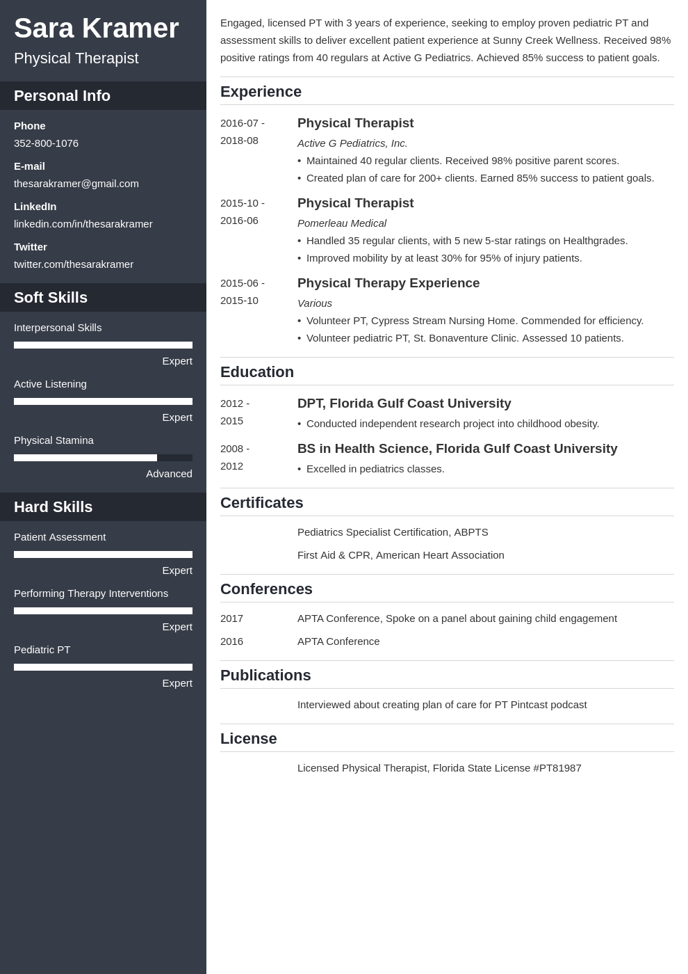 physical therapy resume example template cascade