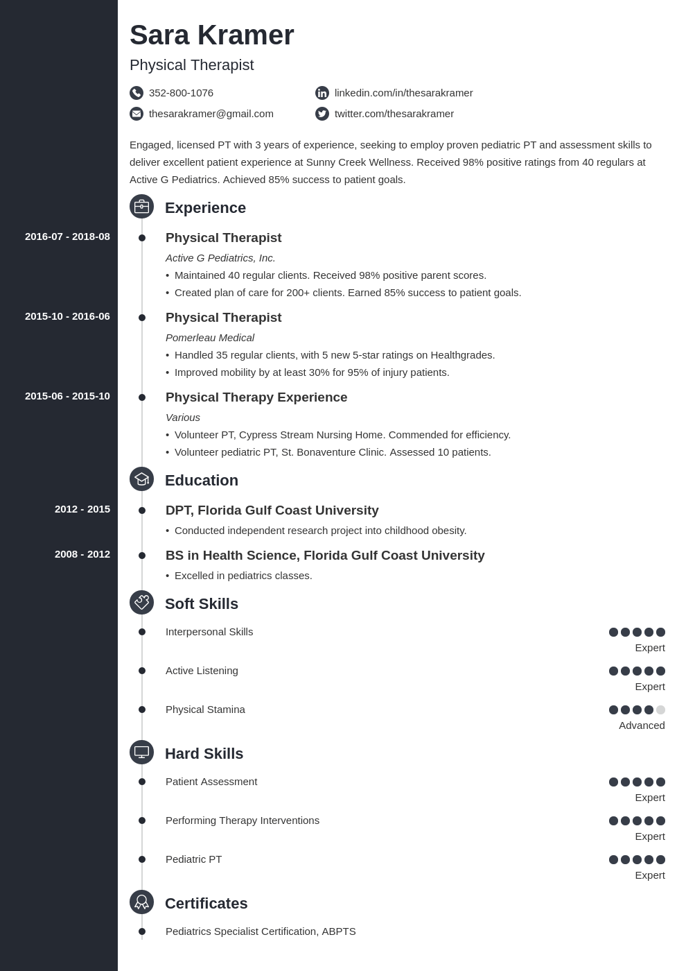 physical therapy resume example template concept