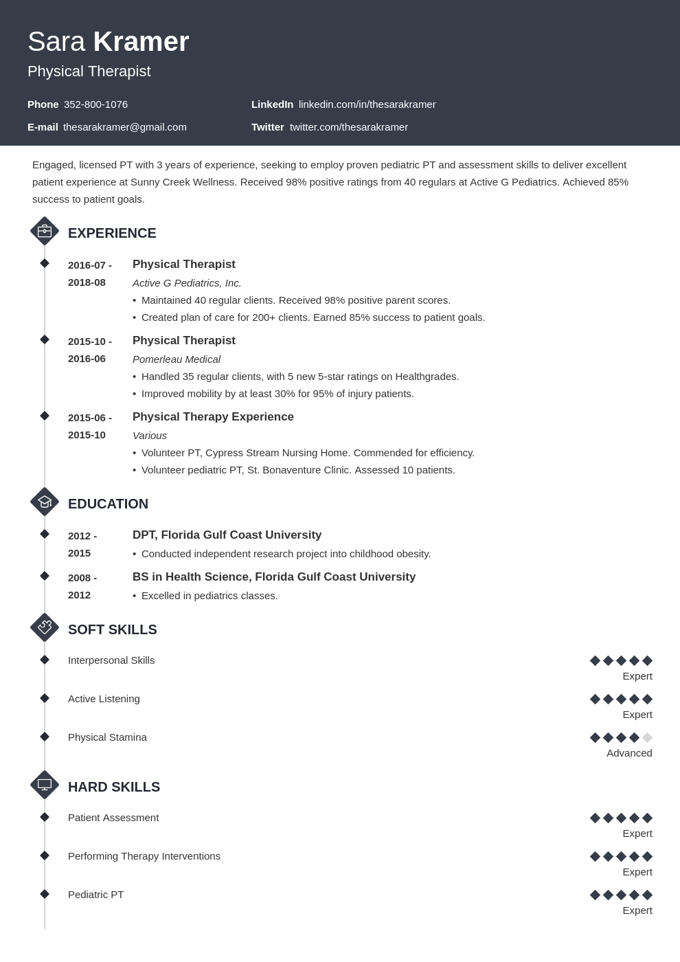 physical therapy resume example template diamond