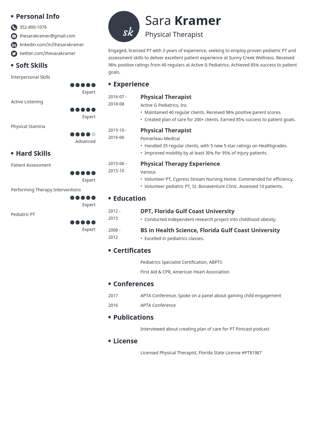 physical therapy resume example template initials