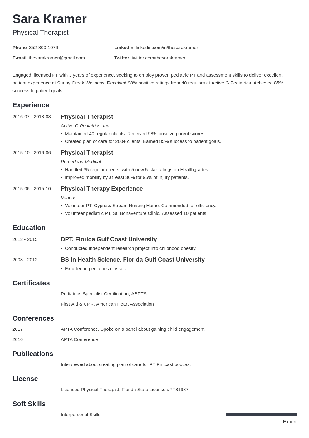 physical therapy resume example template minimo