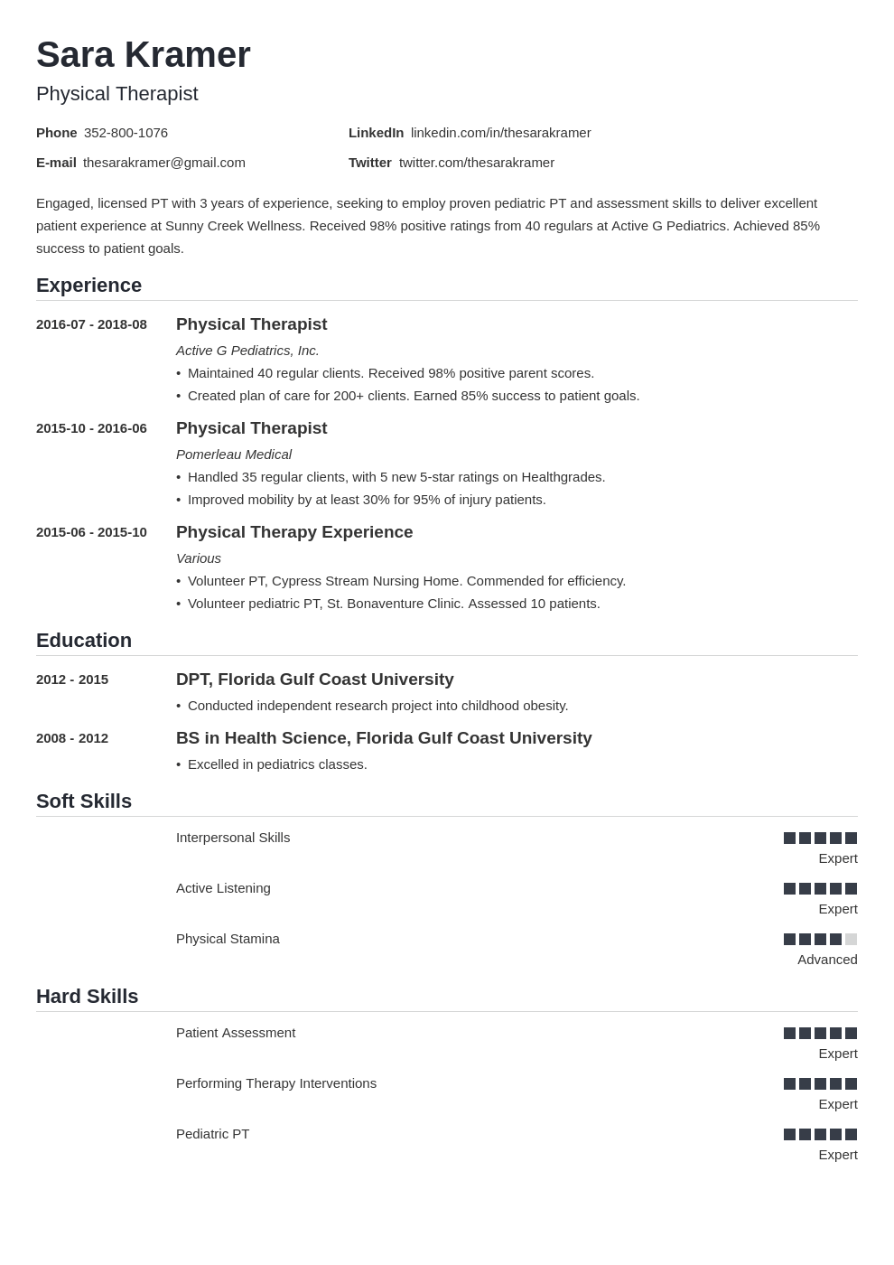 physical therapy resume example template nanica