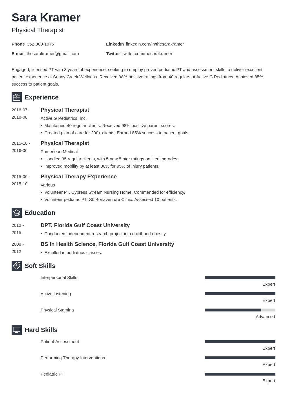 physical therapy resume example template newcast