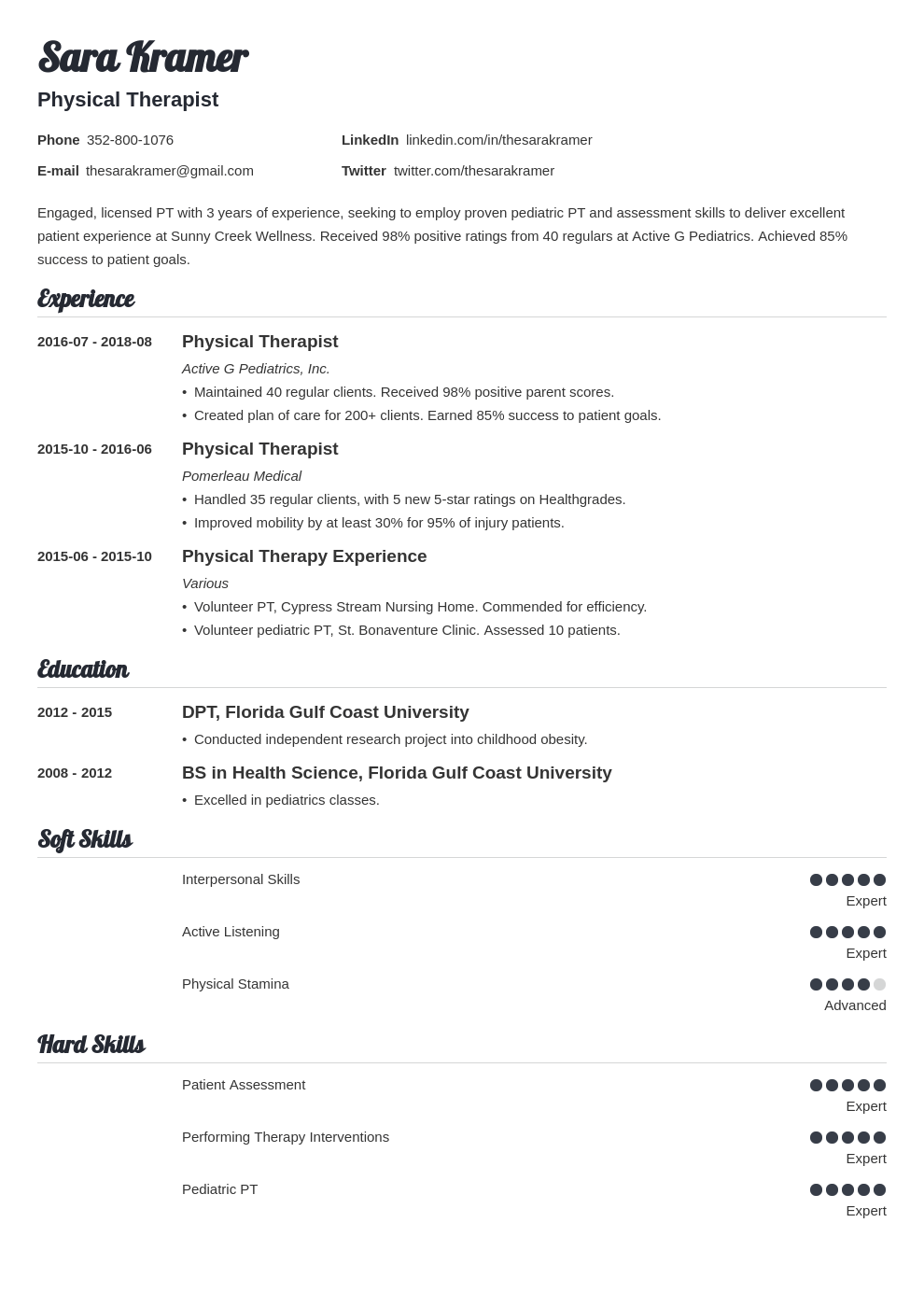 physical therapy resume example template valera