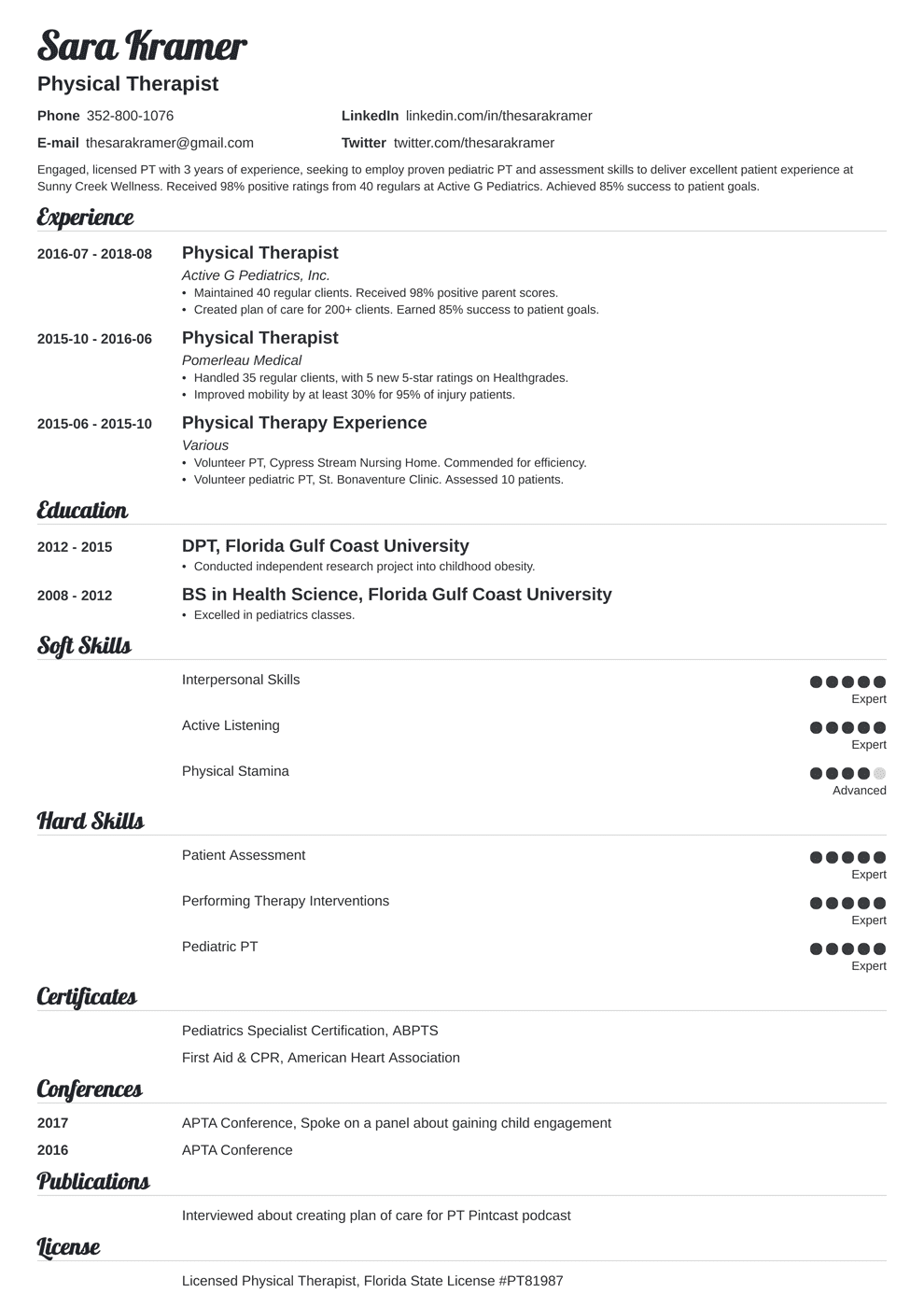 physical therapy resume format