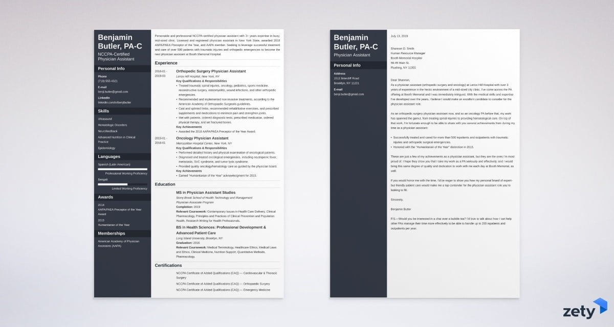 physician assistant resume and cover letter set