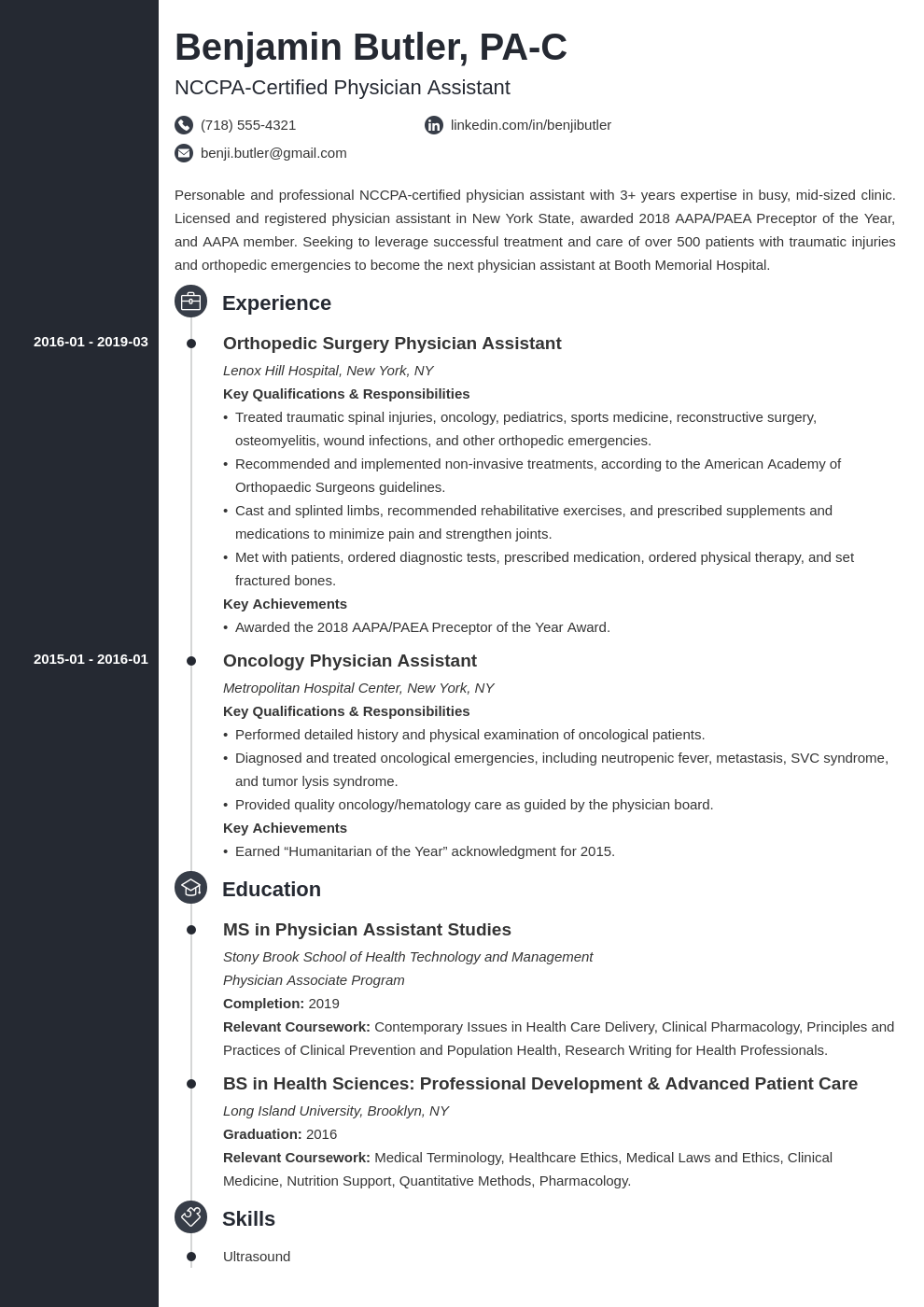 physician assistant resume example template concept