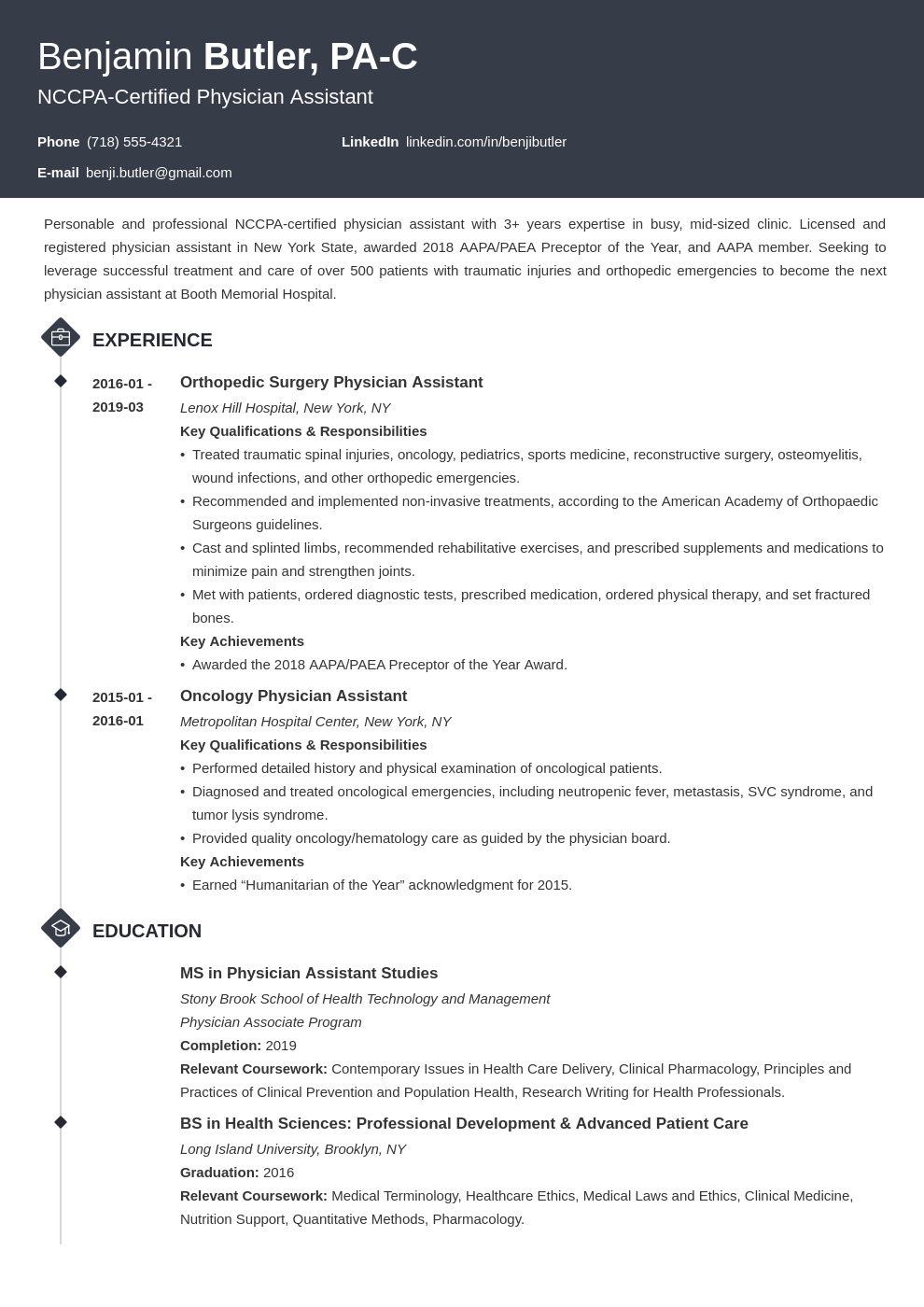 physician assistant resume example template diamond
