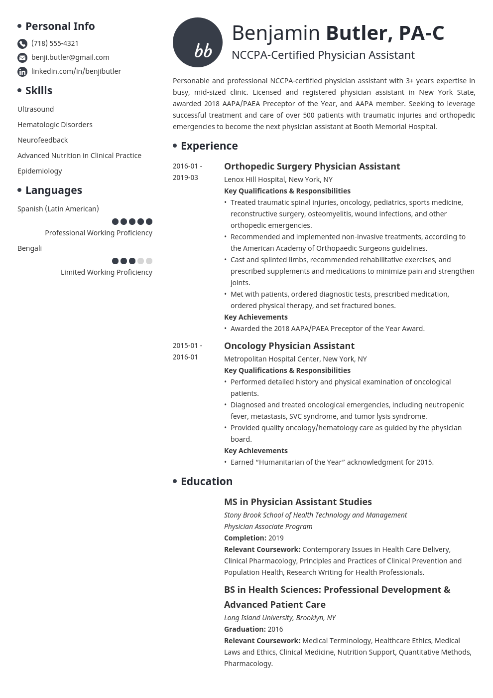 physician assistant resume example template initials