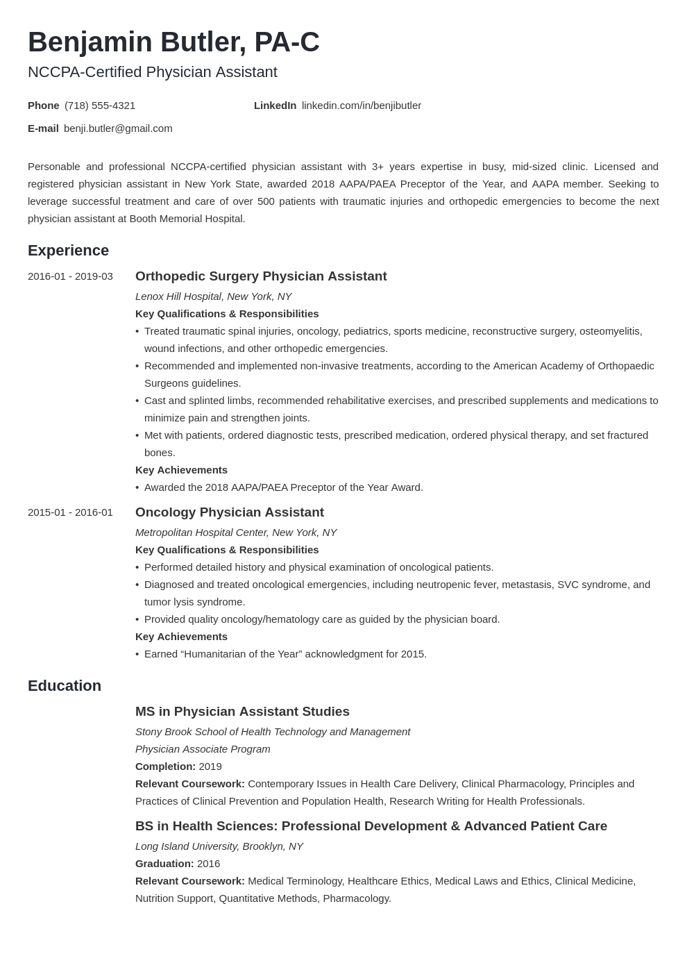physician assistant resume example template minimo