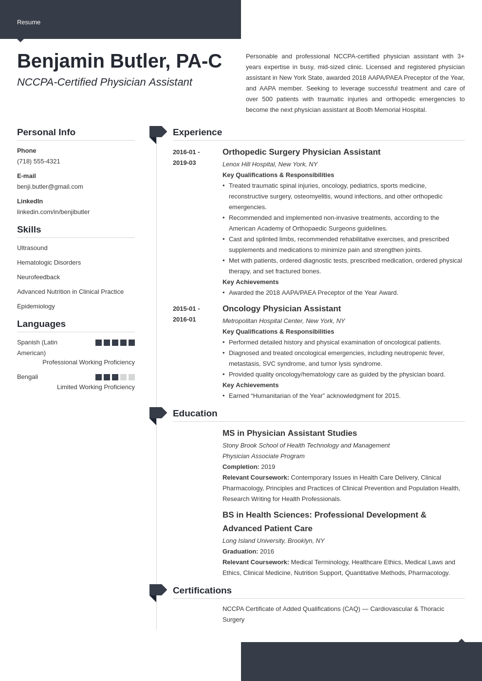 physician assistant resume example template modern