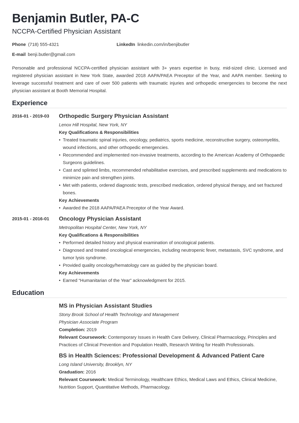 physician assistant resume example template nanica
