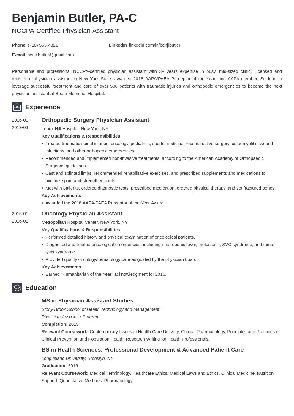 physician assistant resume example template newcast