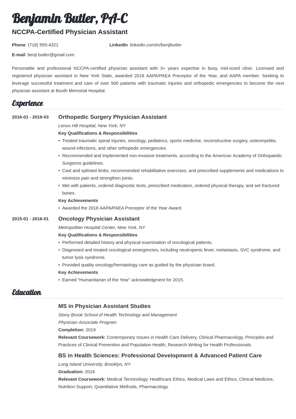 physician assistant resume example template valera