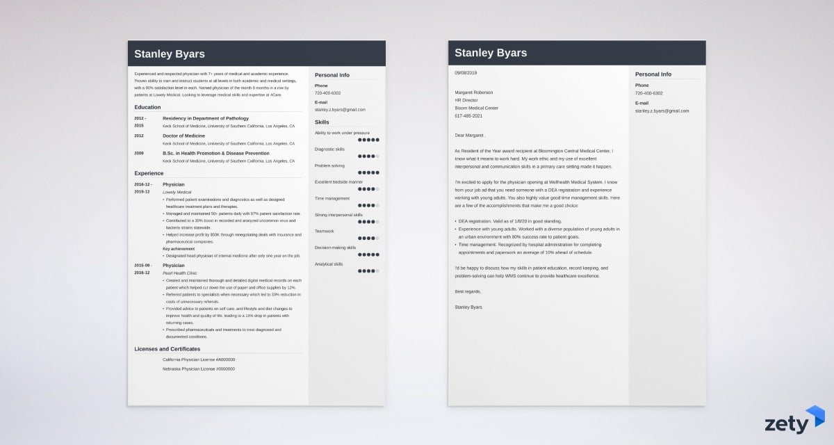 physician resume and cover letter set