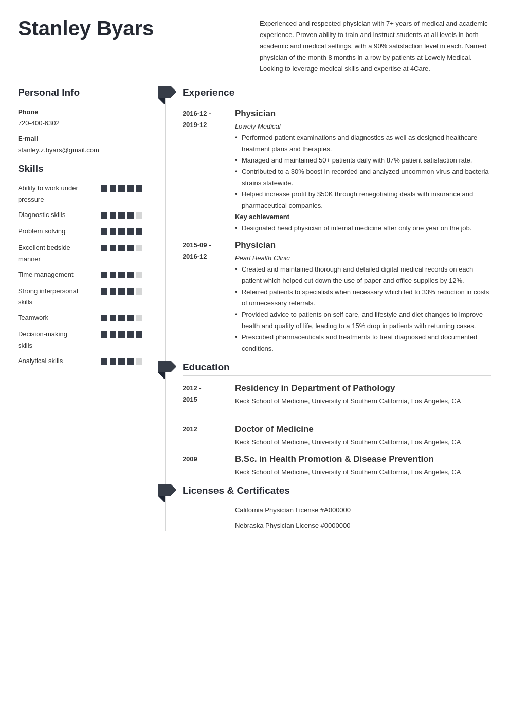 physician cv example template muse