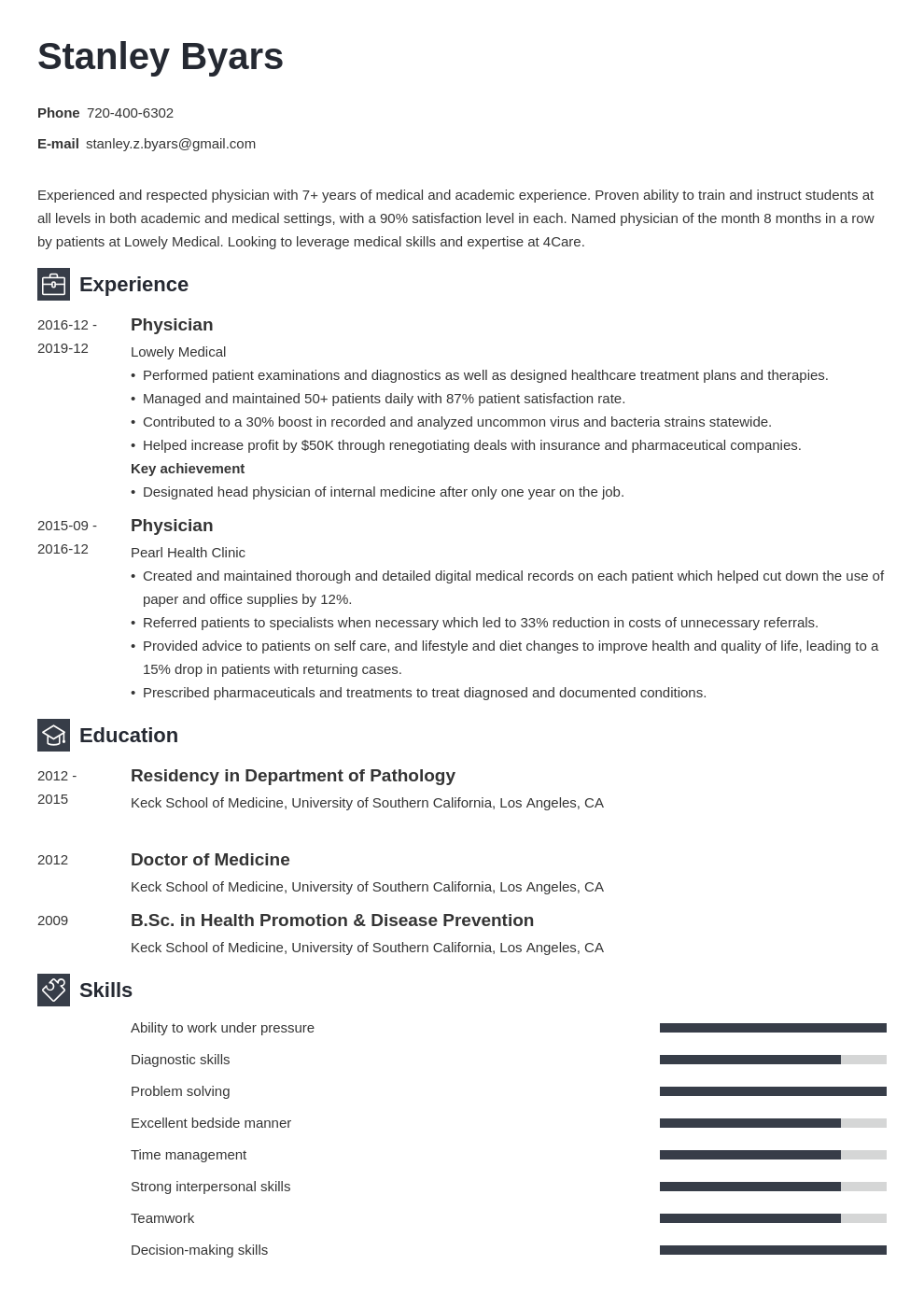 physician cv example template newcast