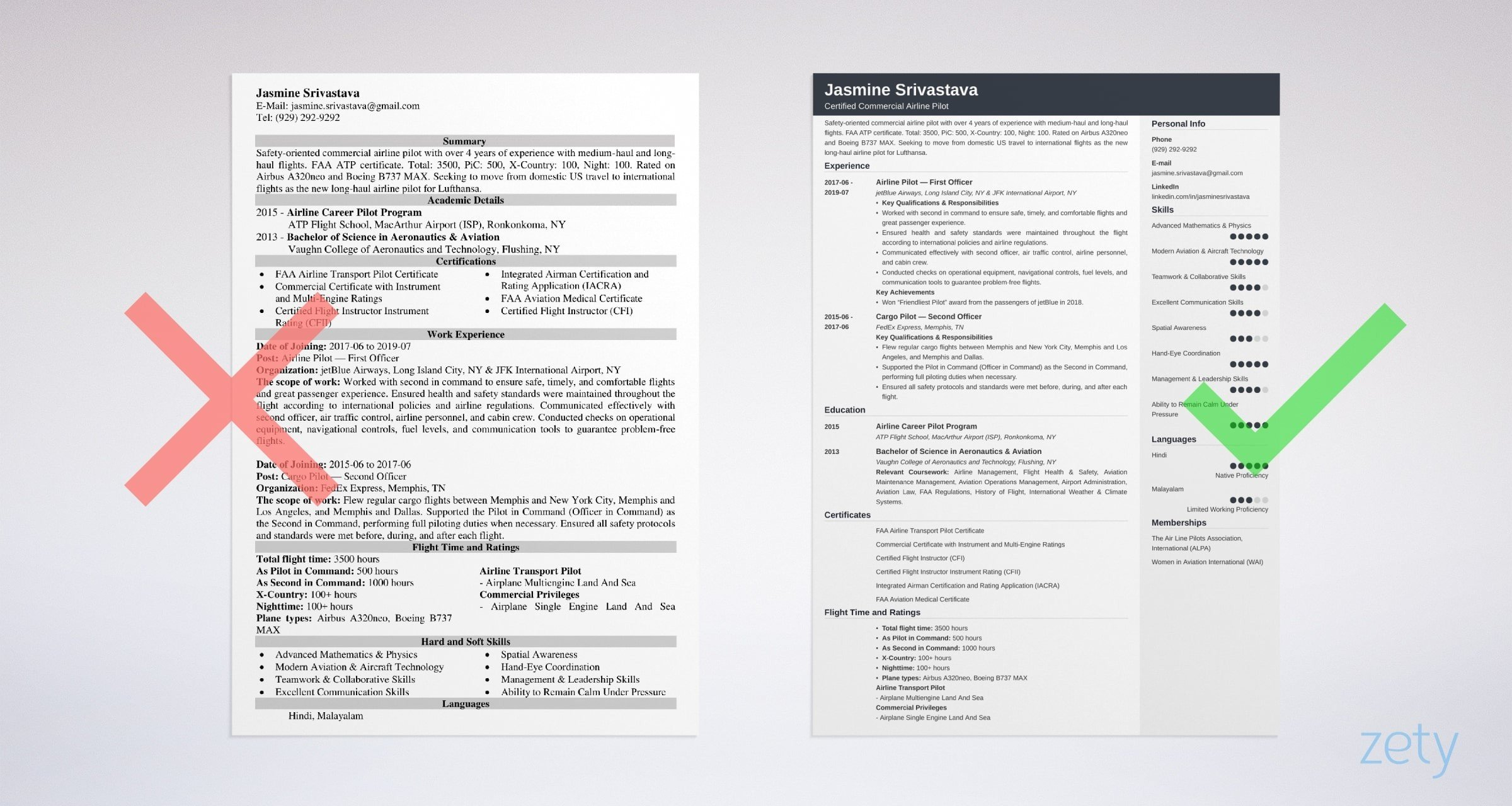 professional pilot resume templates