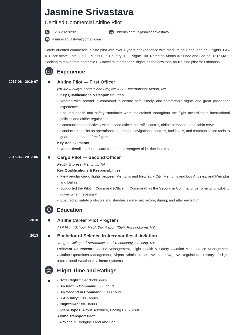 pilot resume example template concept