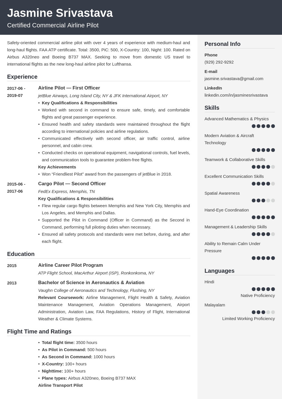 pilot resume example template cubic