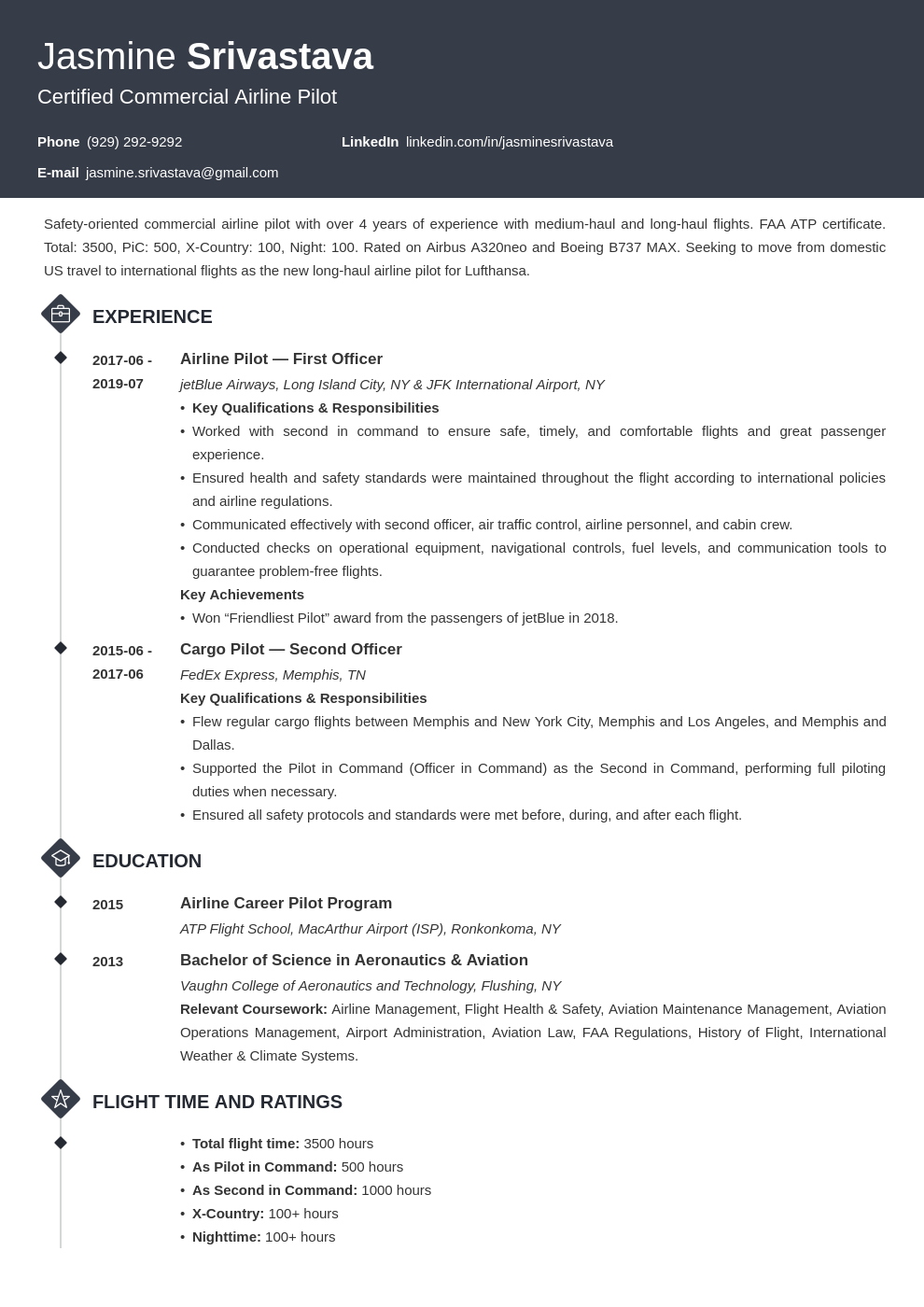 pilot resume example template diamond