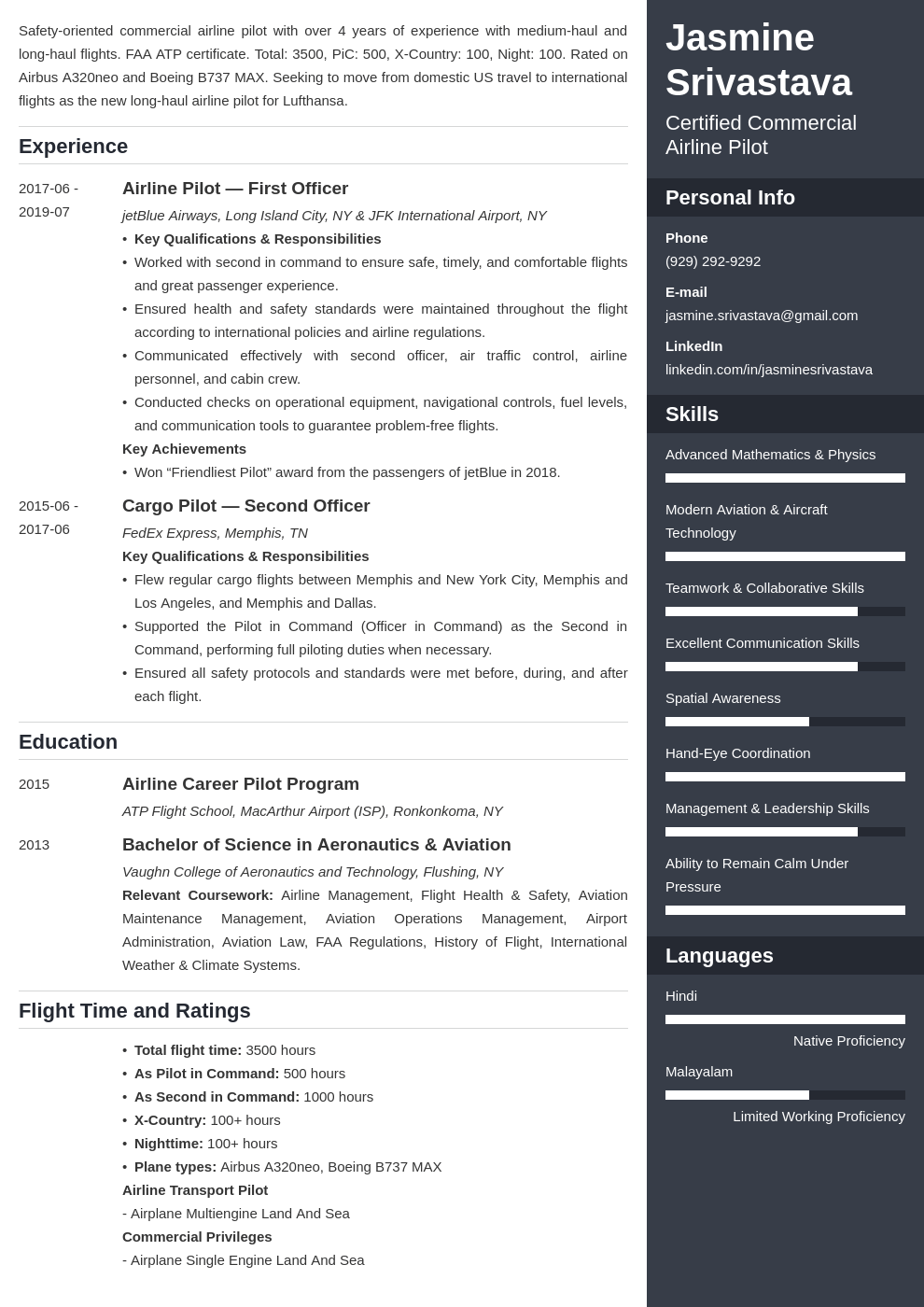 pilot resume example template enfold