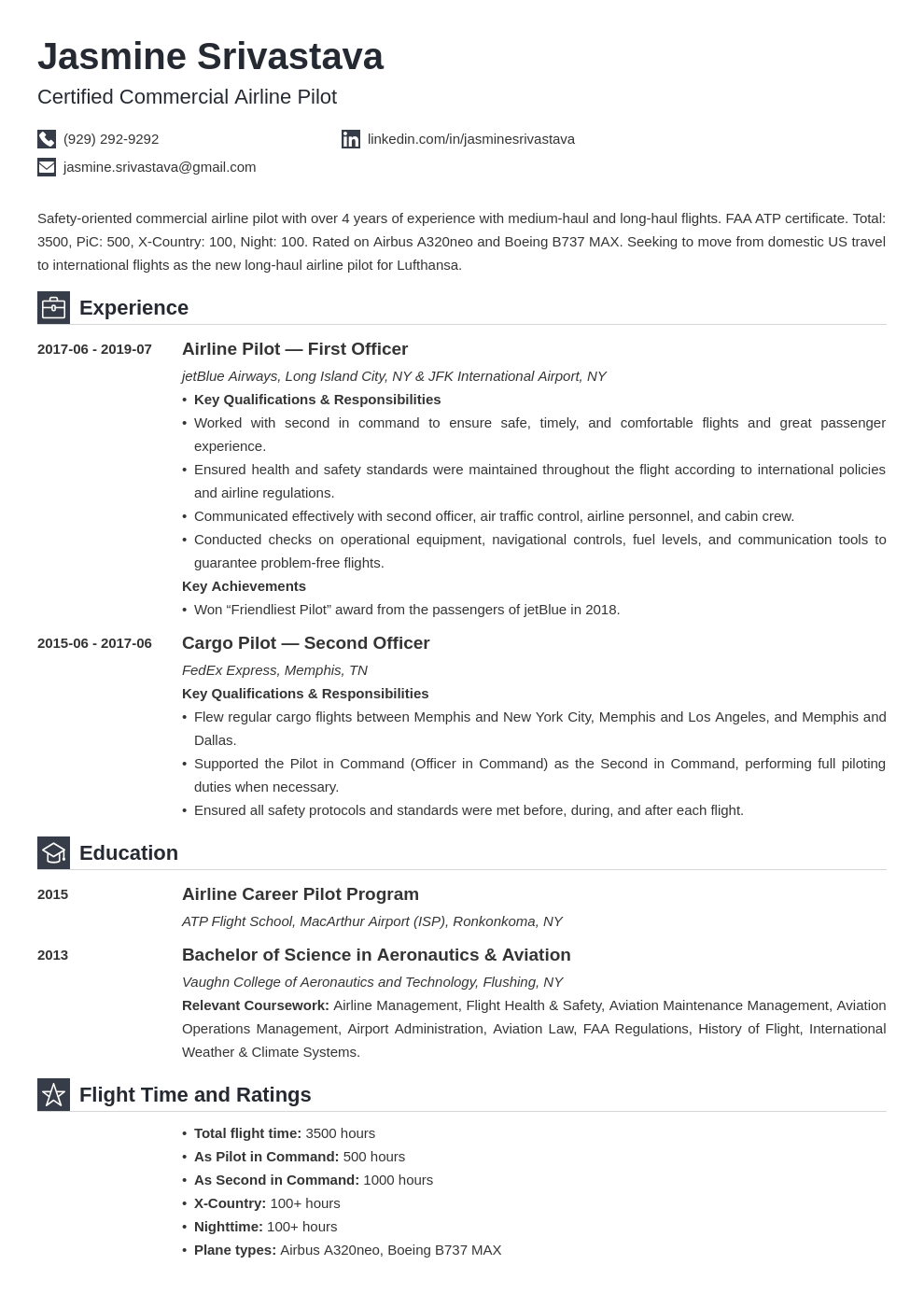 pilot resume example template iconic