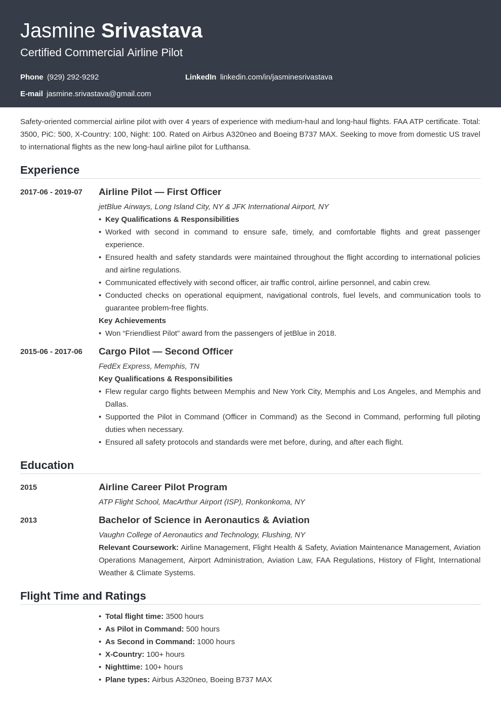 pilot resume example template influx