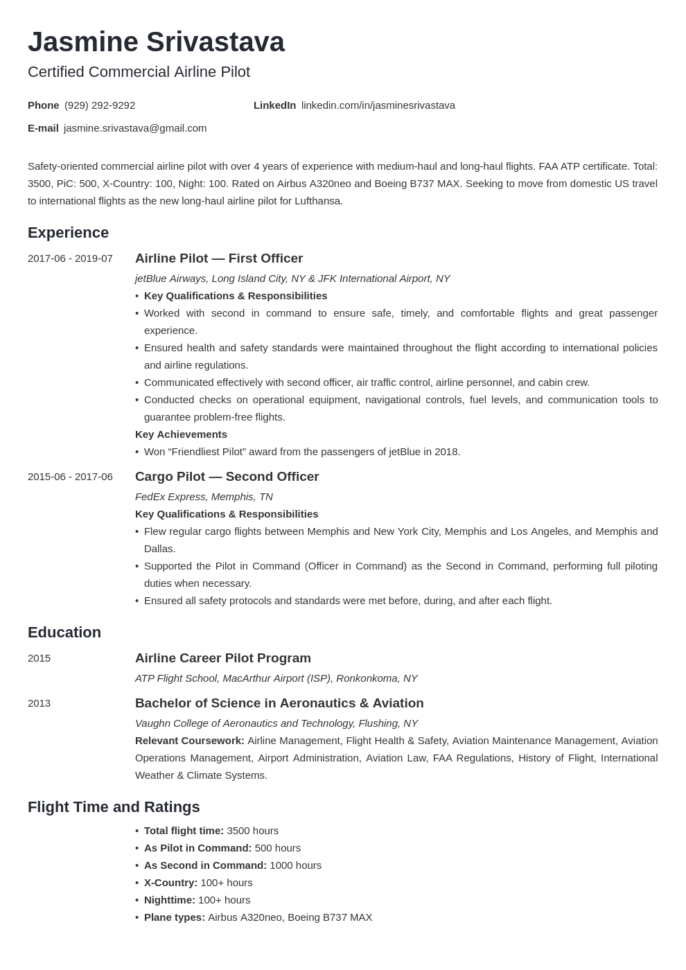 pilot resume example template minimo
