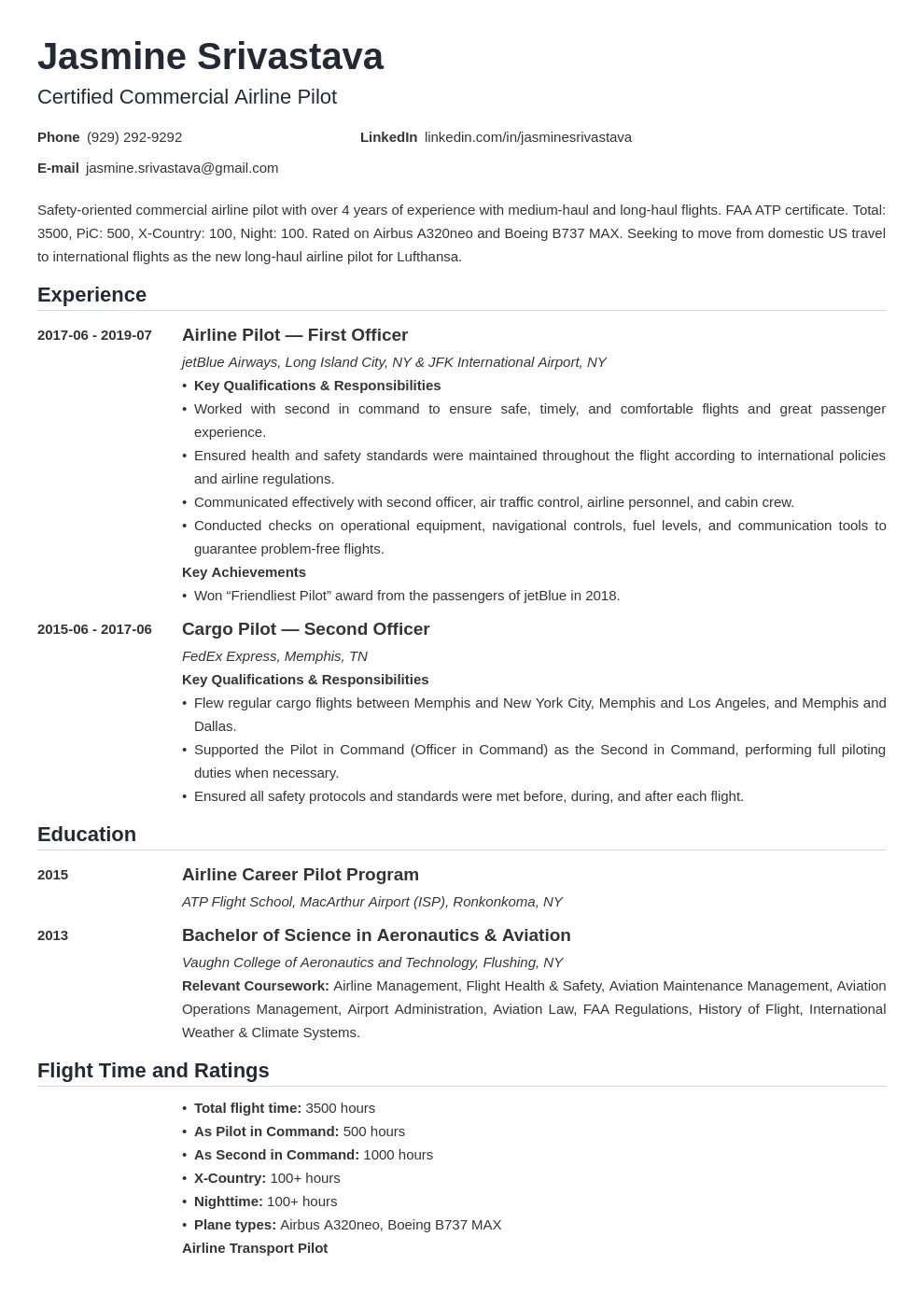 pilot resume example template nanica